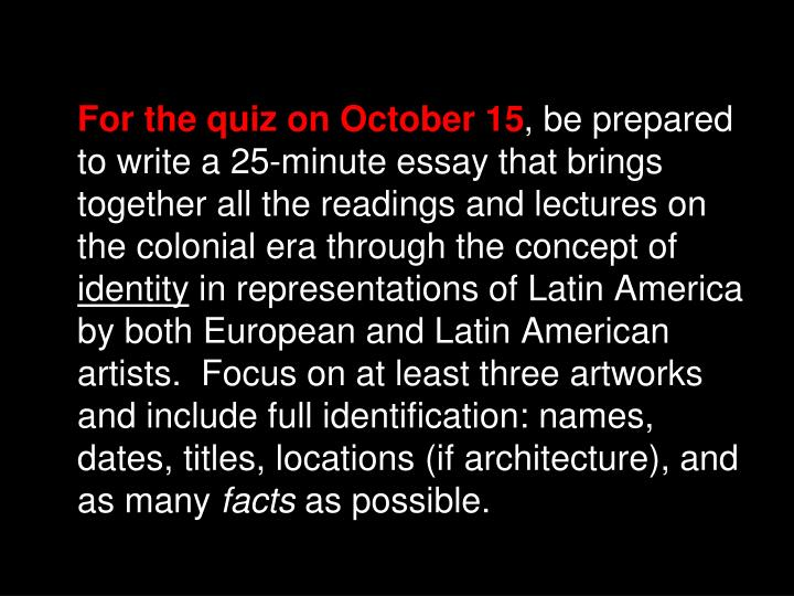 For the quiz on October 15
