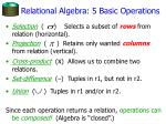 relational algebra 5 basic operations