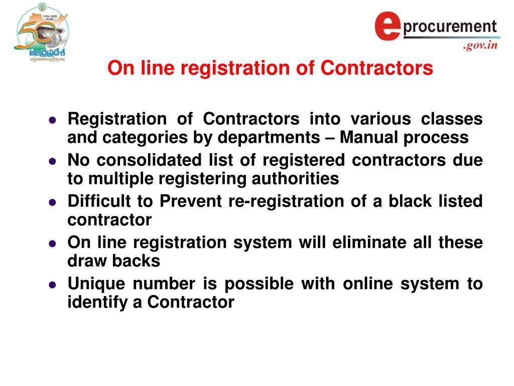 On line registration of Contractors