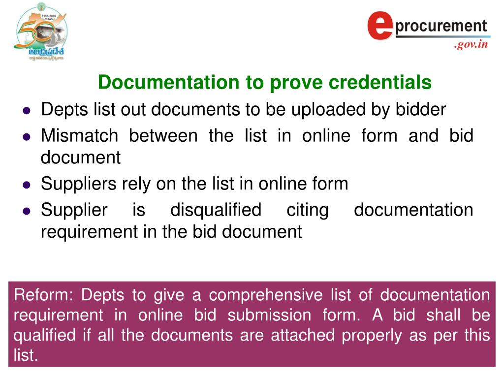 Documentation to prove credentials
