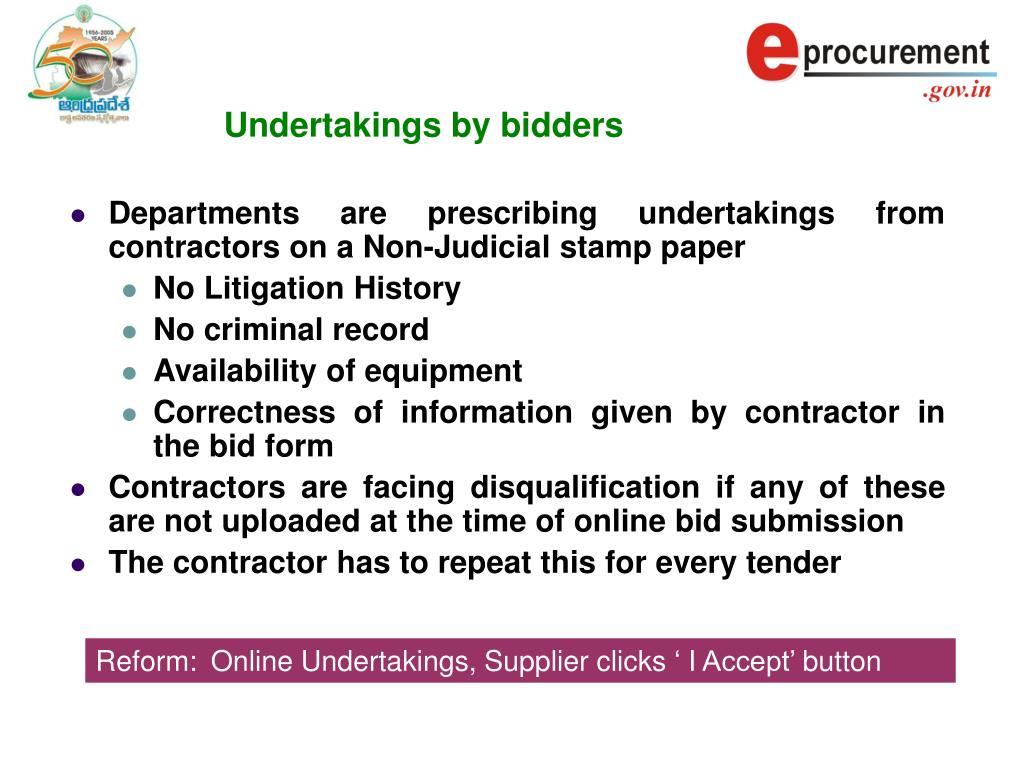 Undertakings by bidders