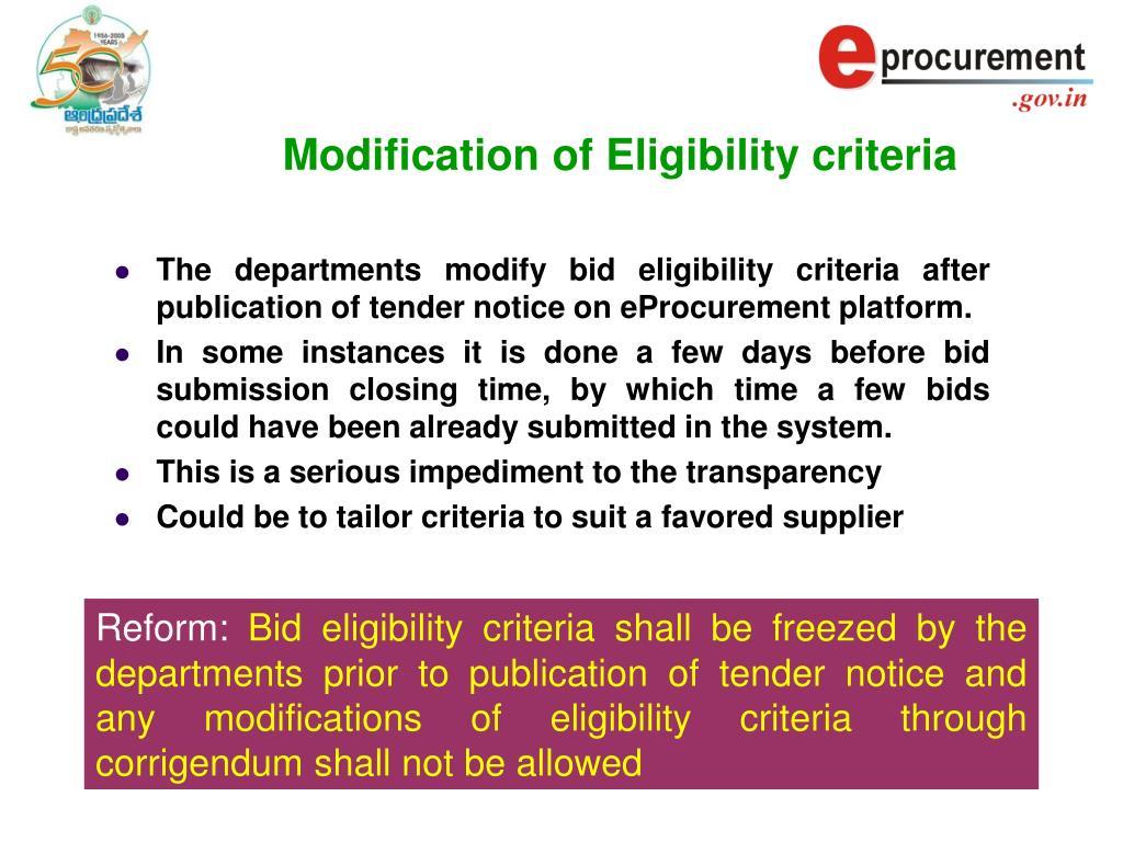 Modification of Eligibility criteria