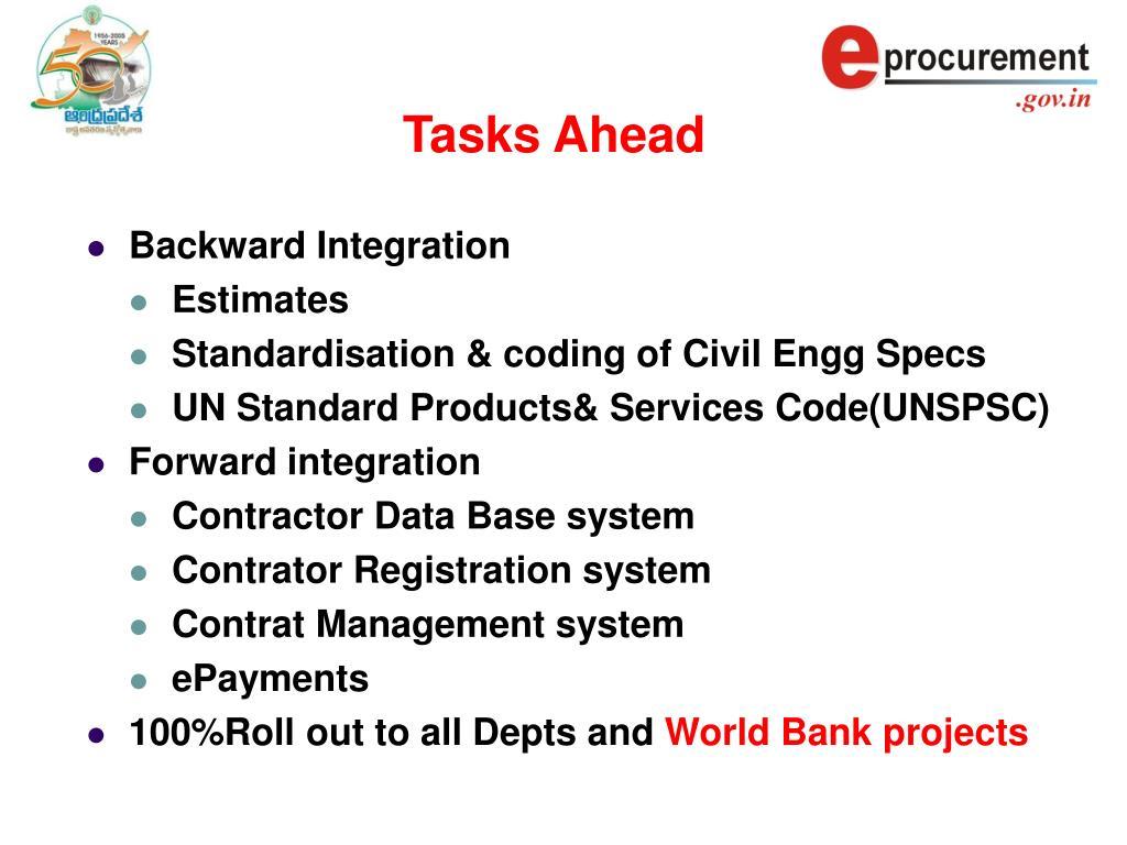 Tasks Ahead