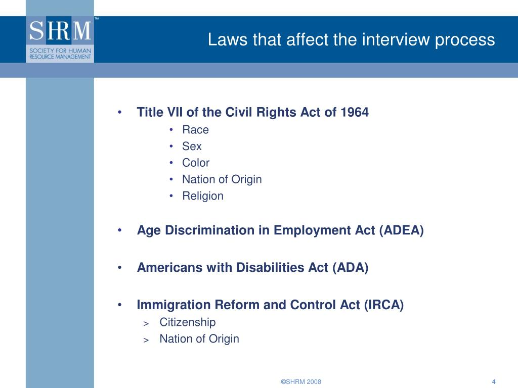 Laws that affect the interview process