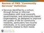 review of fws community services definition