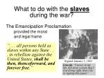 what to do with the slaves during the war