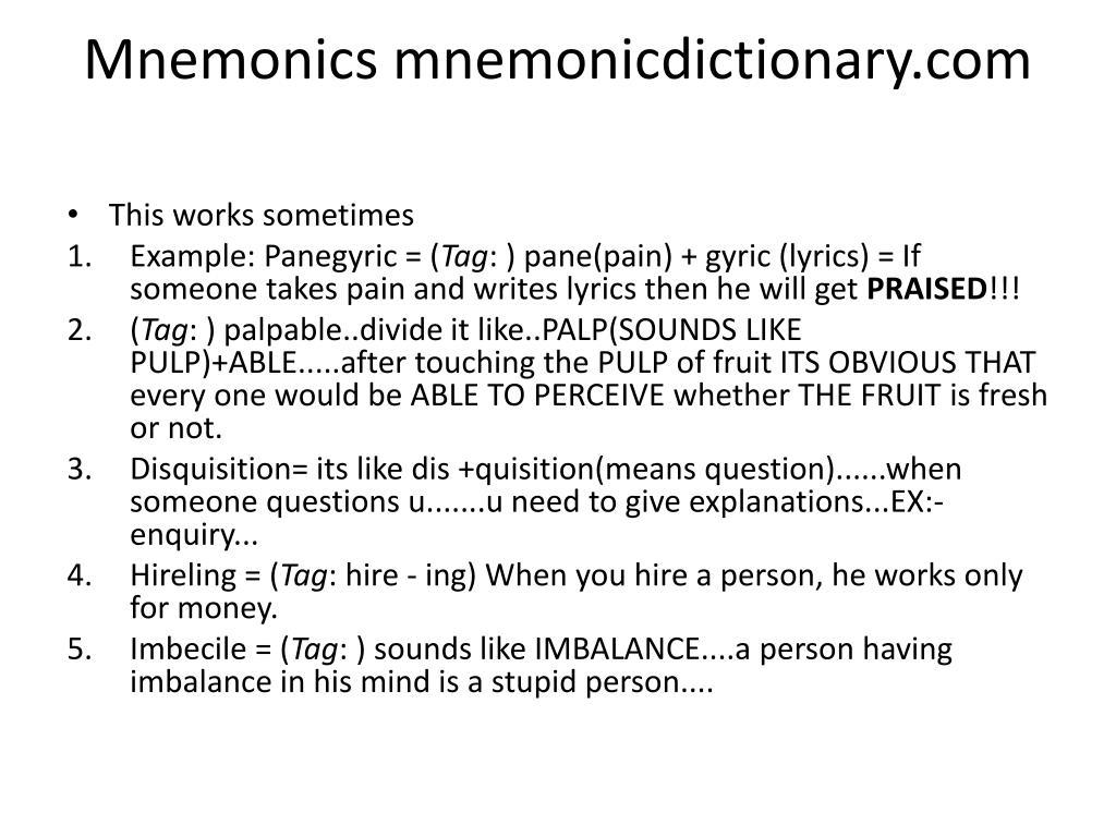 Mnemonics mnemonicdictionary.com