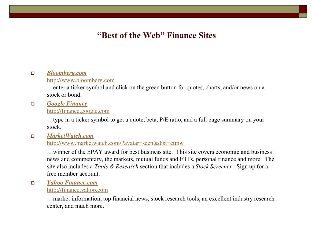 """""""Best of the Web"""" Finance Sites"""