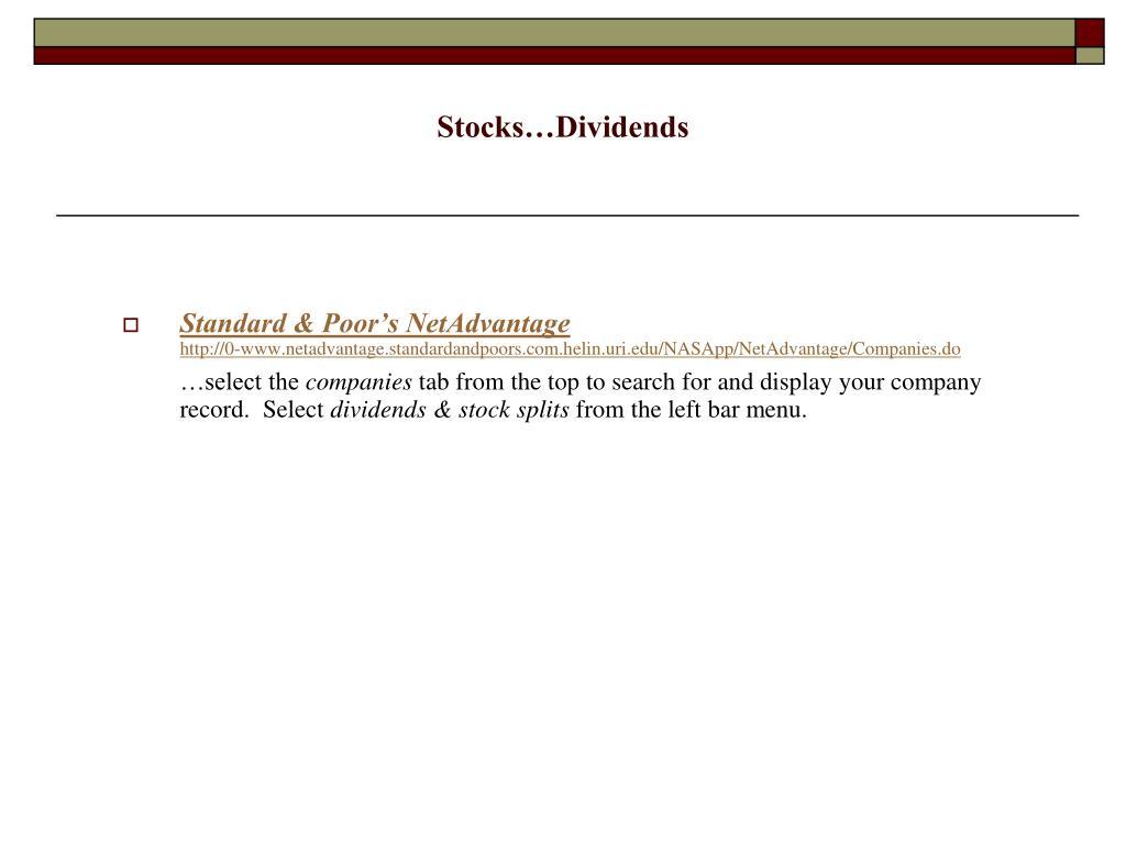 Stocks…Dividends