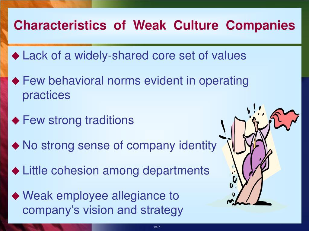 Characteristics  of  Weak  Culture  Companies