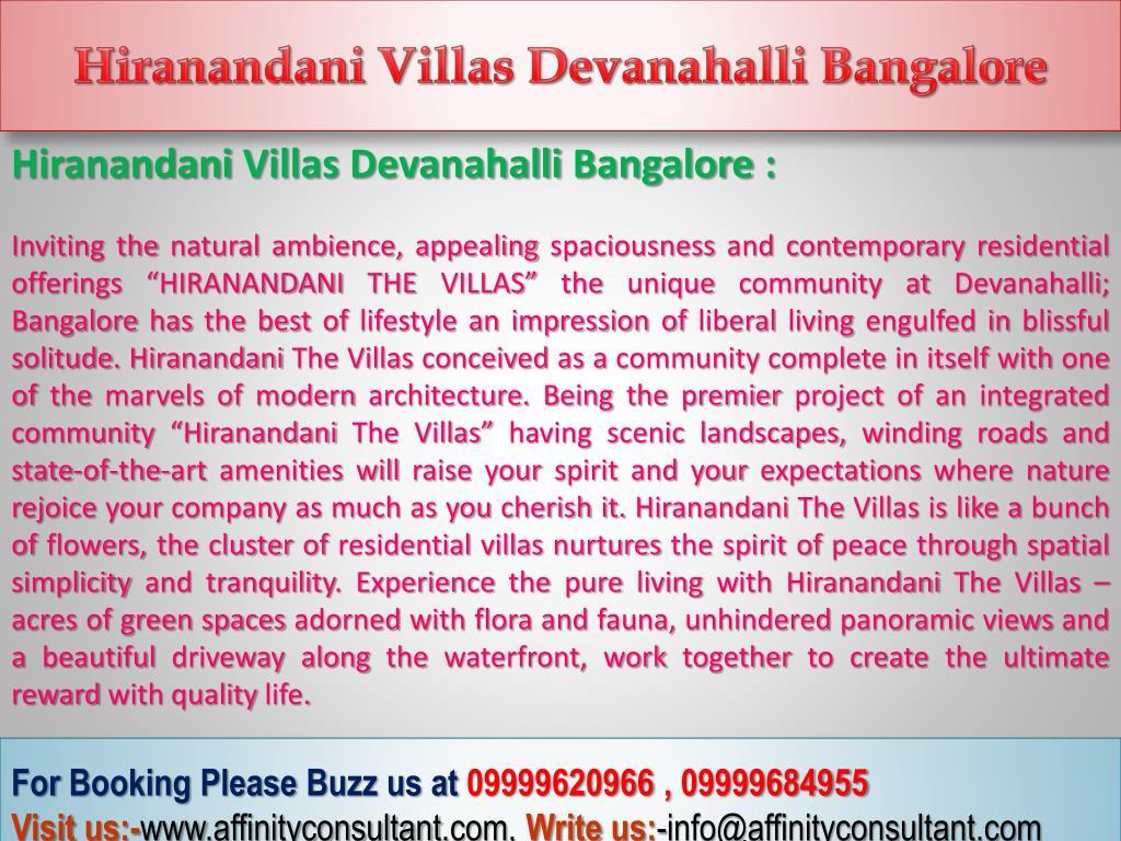 Hiranandani Villas Devanahalli Bangalore