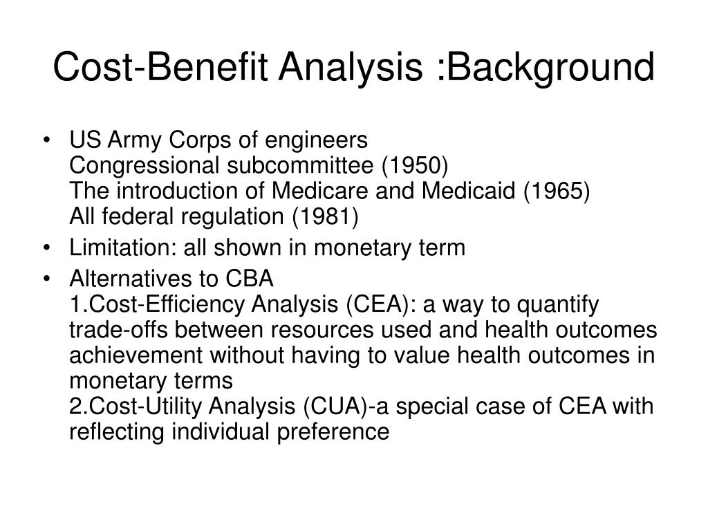 Cost-Benefit Analysis :Background
