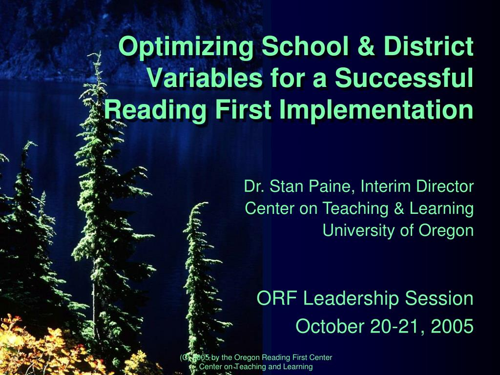 optimizing school district variables for a successful reading first implementation l.