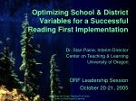 optimizing school district variables for a successful reading first implementation