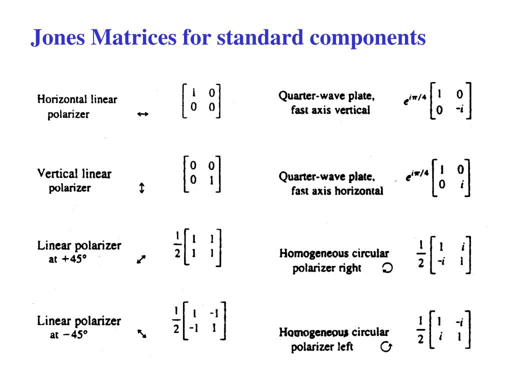 Jones Matrices for standard components
