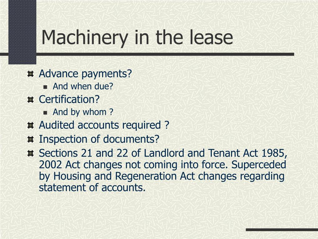 Machinery in the lease