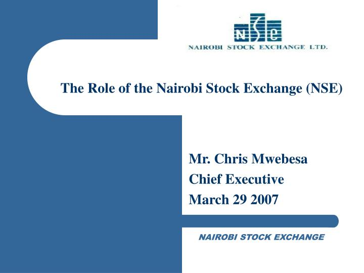 The role of the nairobi stock exchange nse