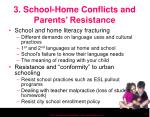 3 school home conflicts and parents resistance