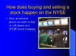 how does buying and selling a stock happen on the nyse
