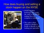 how does buying and selling a stock happen on the nyse7