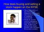 how does buying and selling a stock happen on the nyse9