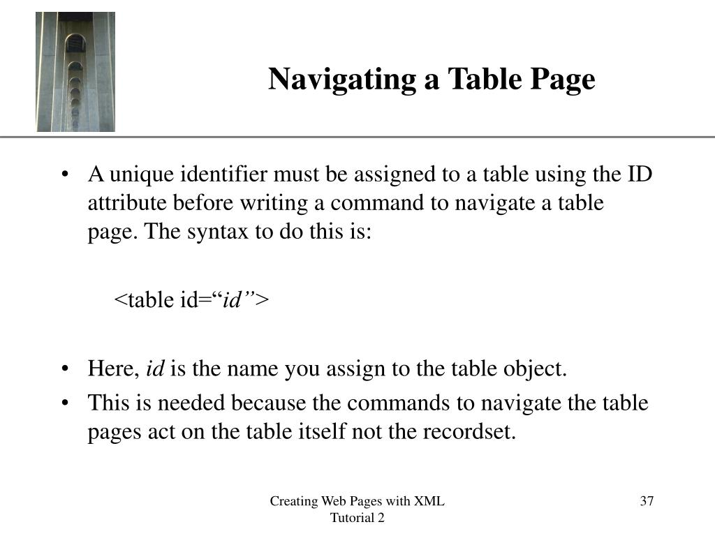 Navigating a Table Page
