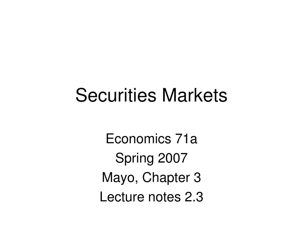 securities markets l.