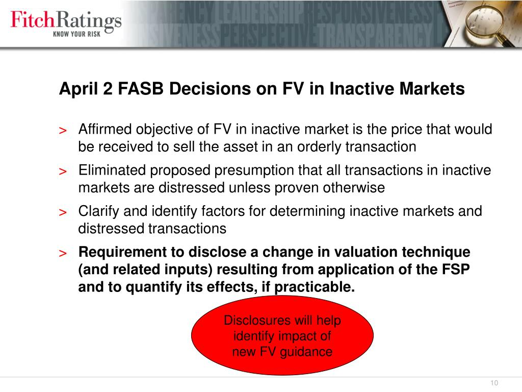 April 2 FASB Decisions on FV in Inactive Markets