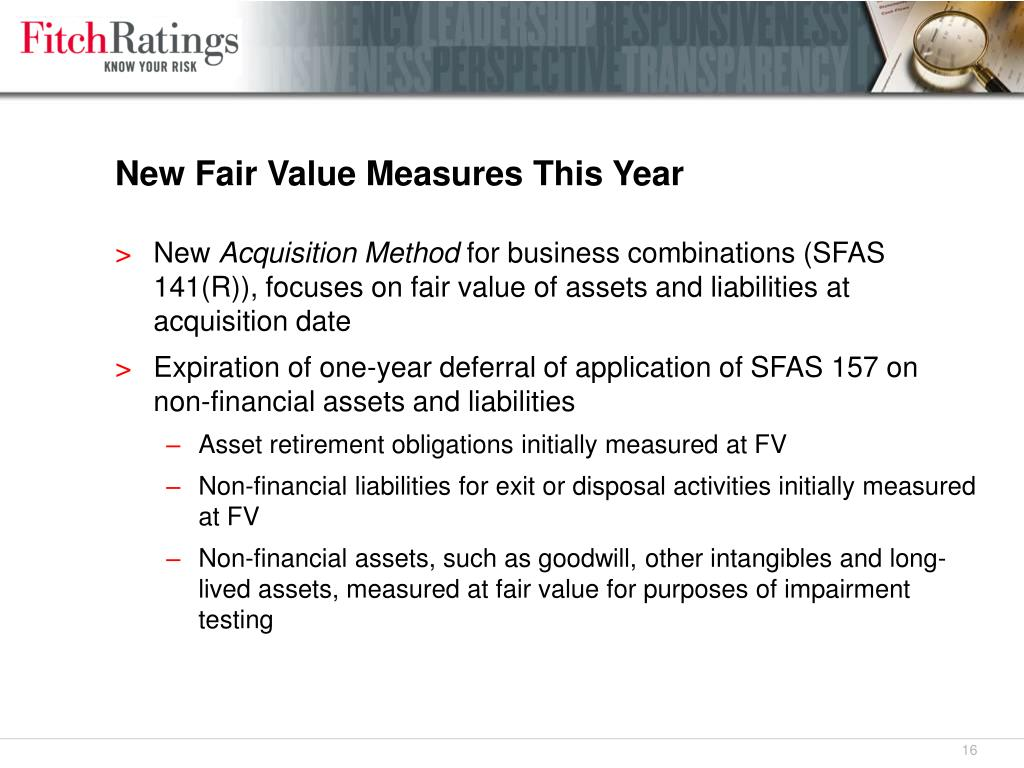 New Fair Value Measures This Year