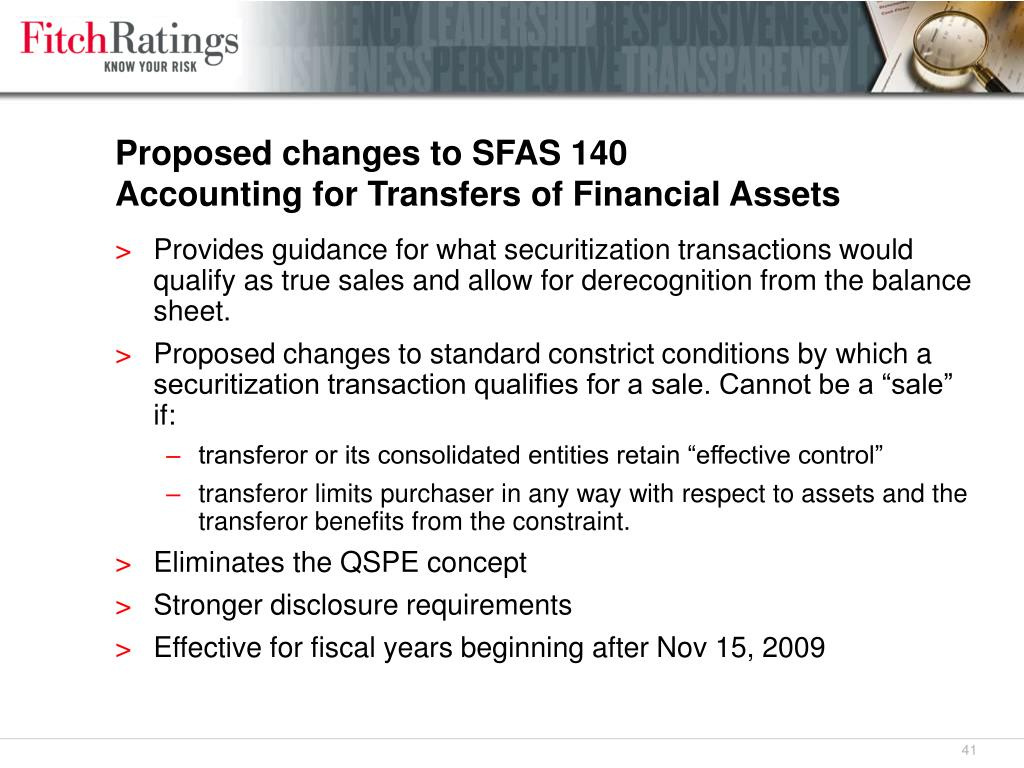 Proposed changes to SFAS 140