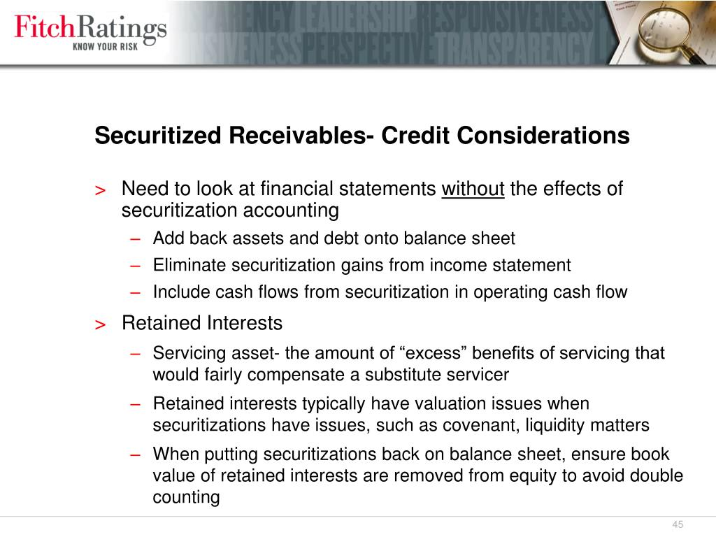 Securitized Receivables- Credit Considerations