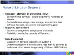 value of linux on system z