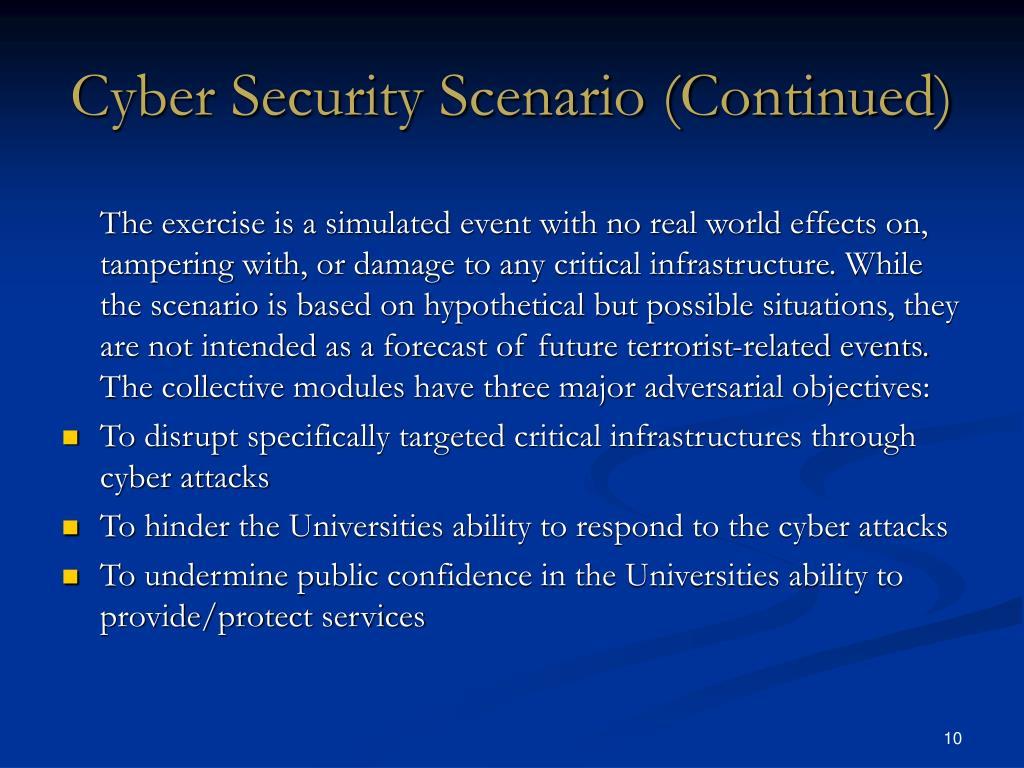 Cyber Security Scenario (Continued)