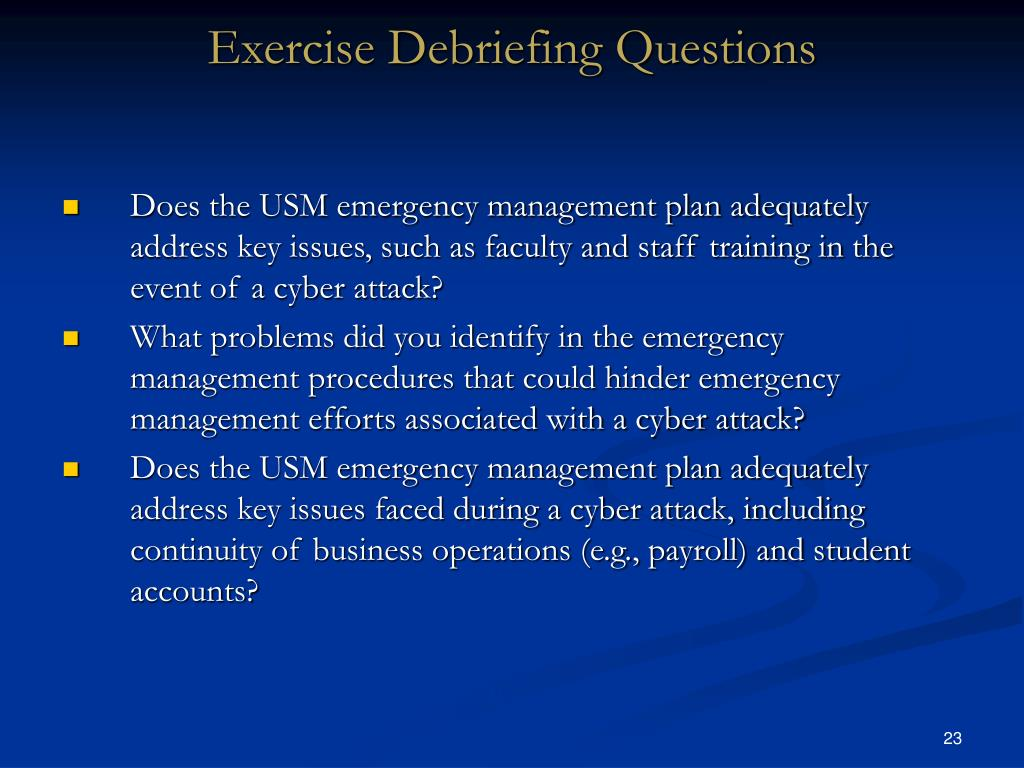 Exercise Debriefing Questions