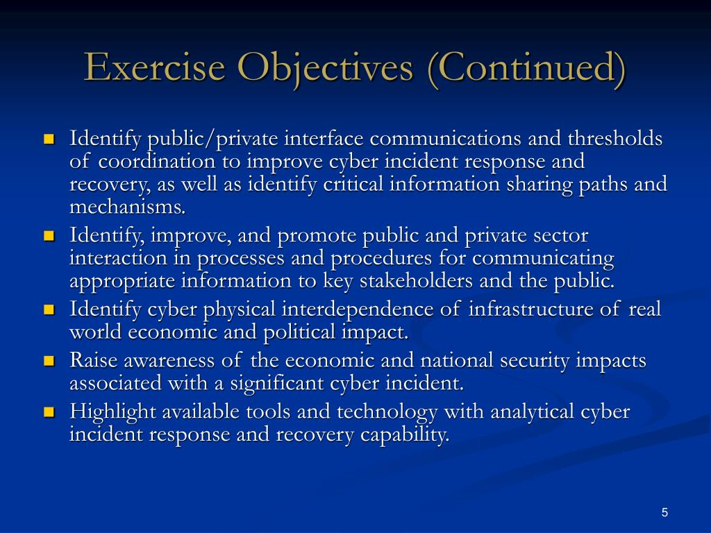 Exercise Objectives (Continued)