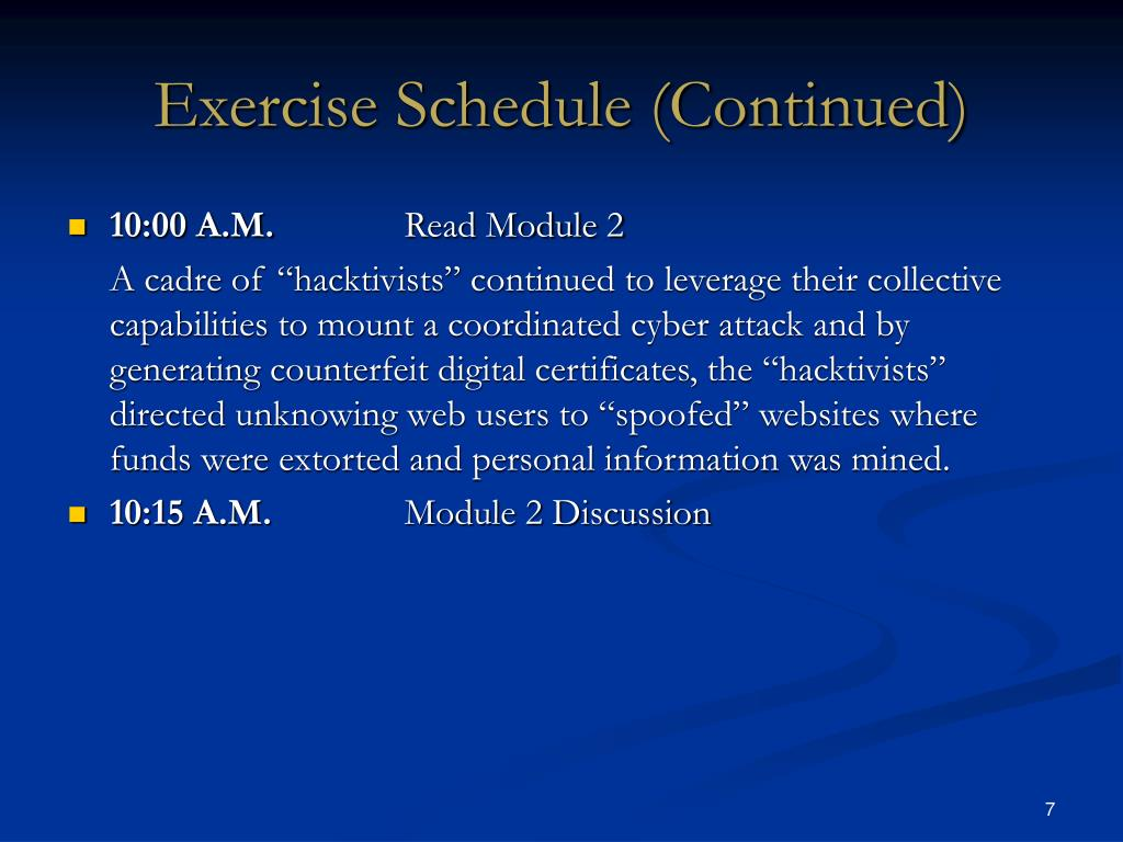 Exercise Schedule (Continued)
