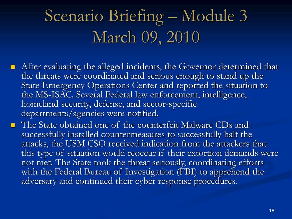 Scenario Briefing – Module 3