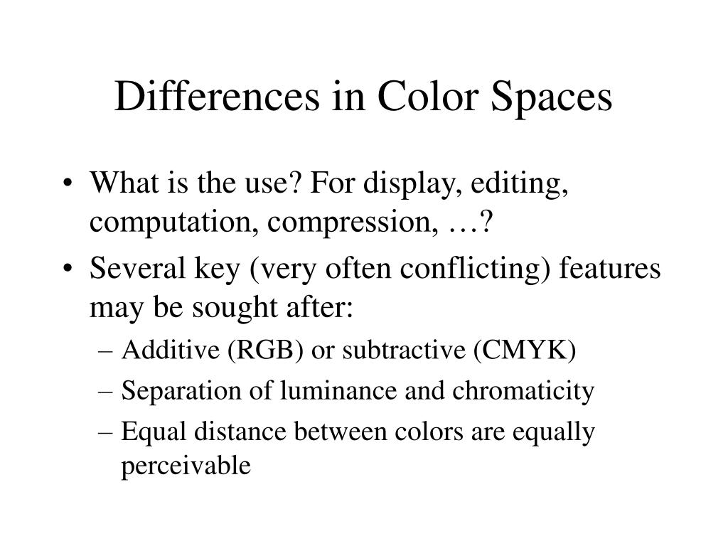 Differences in Color Spaces