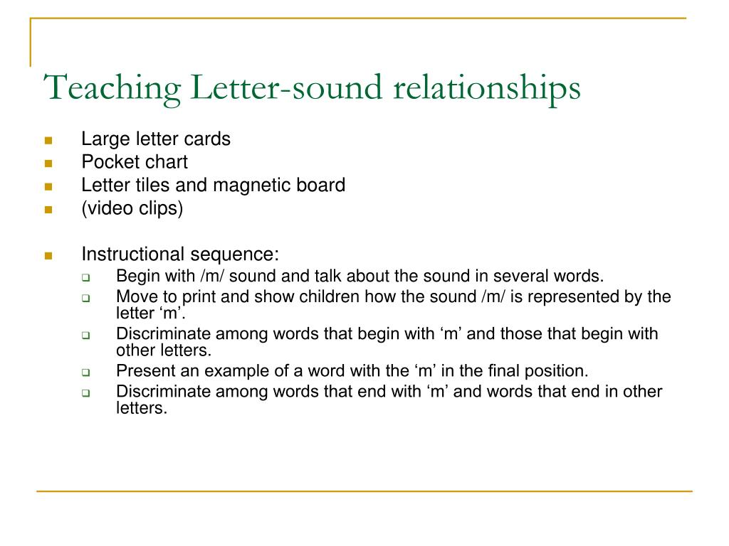 Teaching Letter-sound relationships