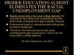 higher education almost eliminates the racial unemployment gap