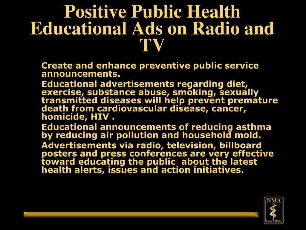 Positive Public Health Educational Ads on Radio and TV