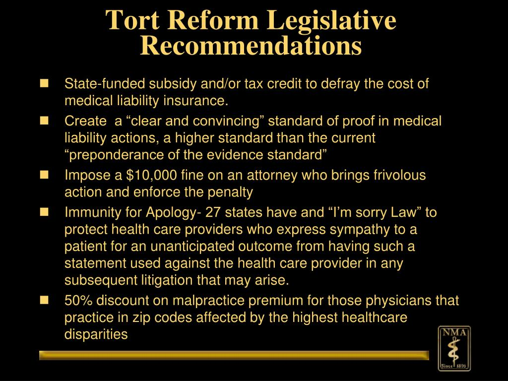Tort Reform Legislative Recommendations