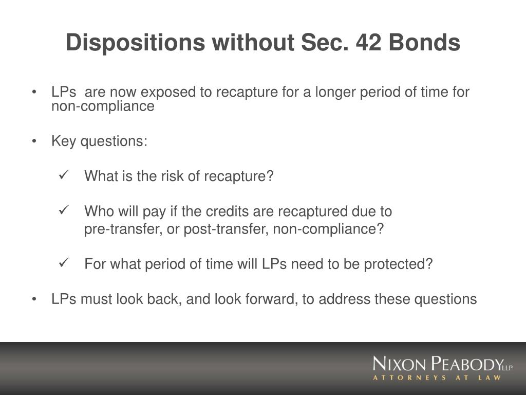 Dispositions without Sec. 42 Bonds