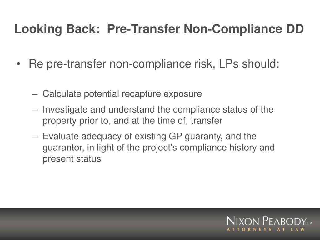Looking Back:  Pre-Transfer Non-Compliance DD