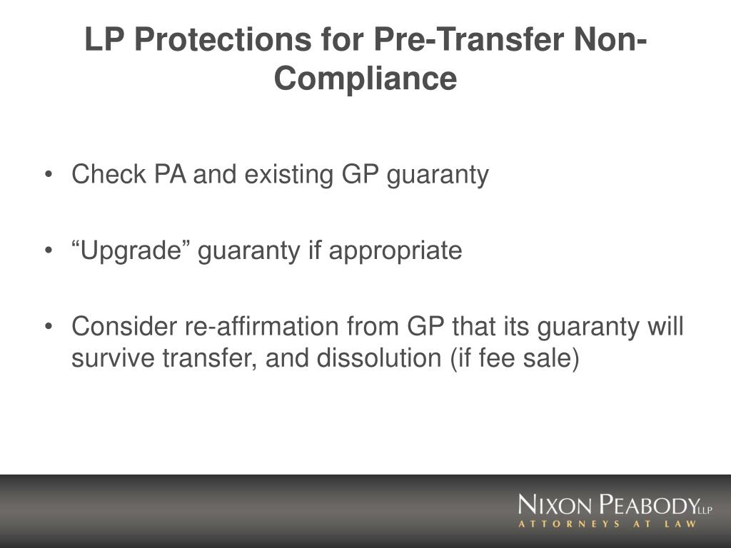 LP Protections for Pre-Transfer Non-Compliance
