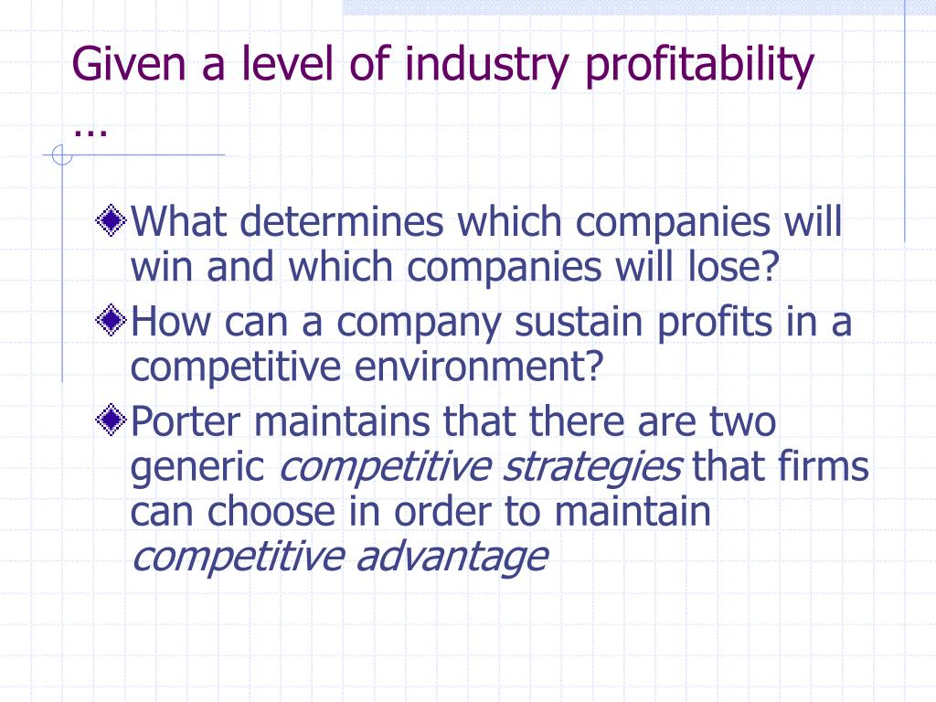 Given a level of industry profitability …