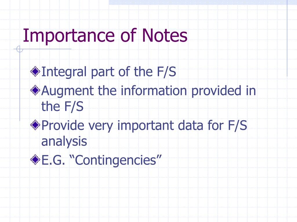 Importance of Notes