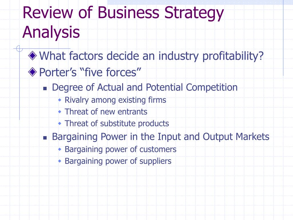 Review of Business Strategy Analysis