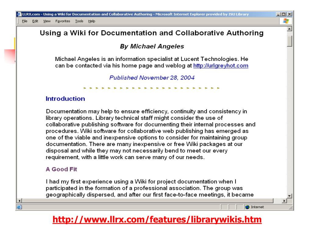 http://www.llrx.com/features/librarywikis.htm