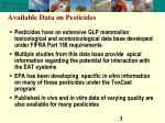 available data on pesticides